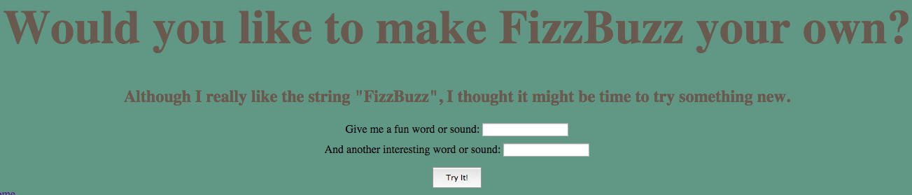 a screenshot of the FizzBuzzinator