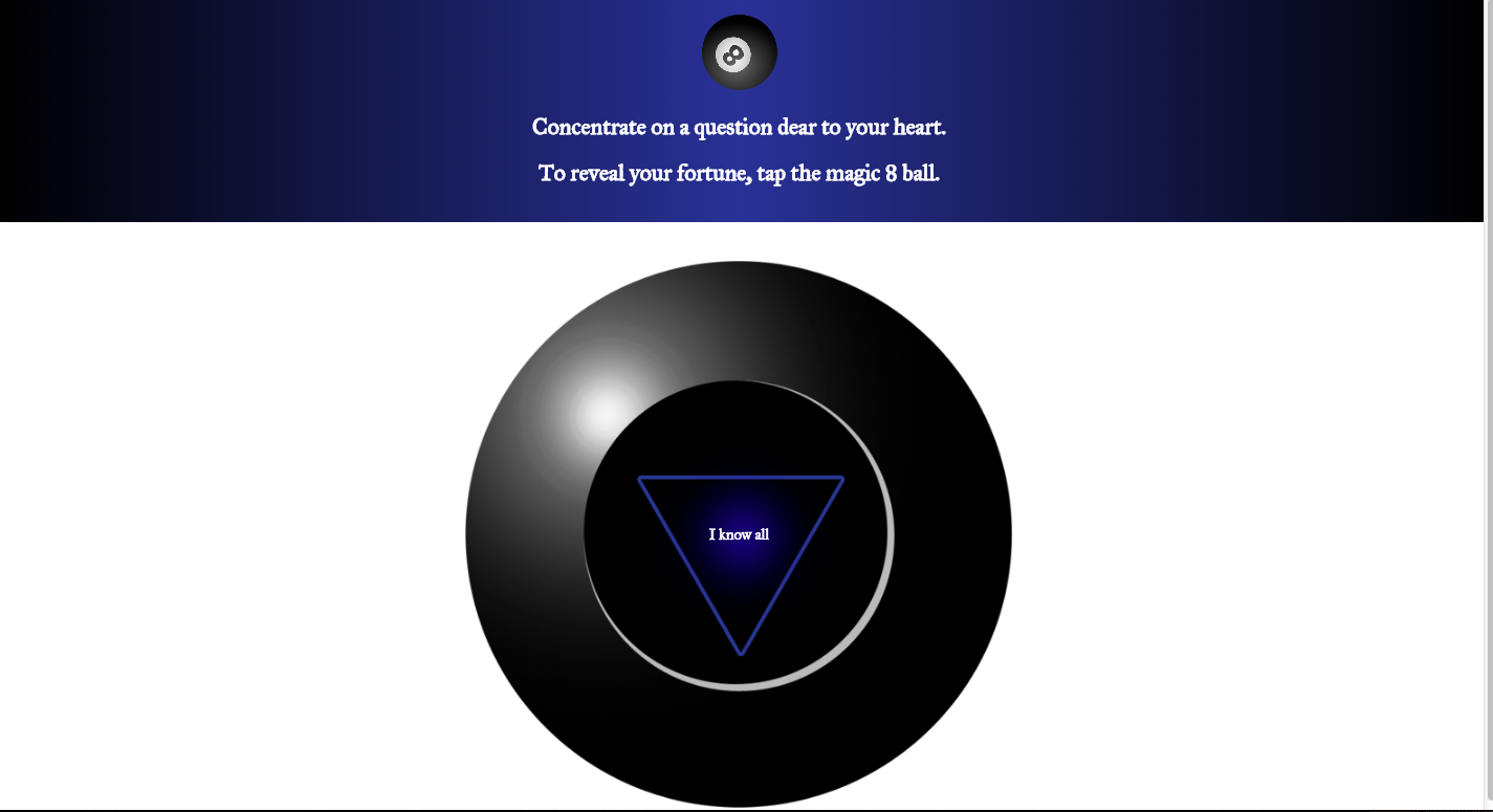 a screenshot of our magic 8 ball